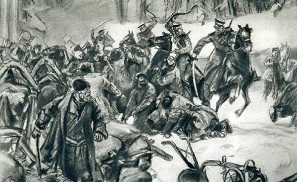 Подавление восстания казаками и жандармами.